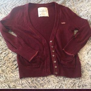 Hollister burgundy cardigan